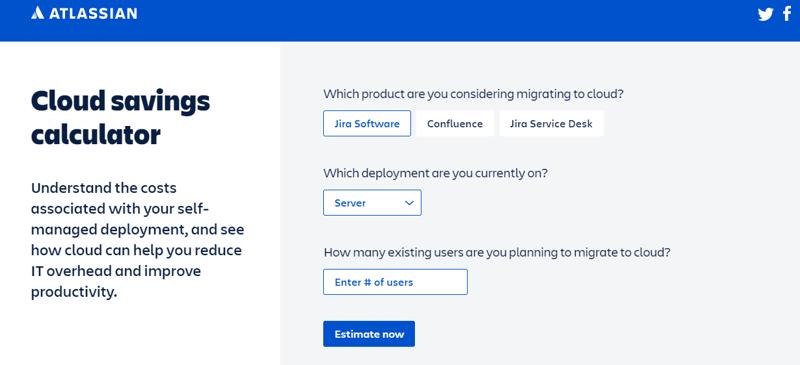 Atlassian Cloud savings calculator
