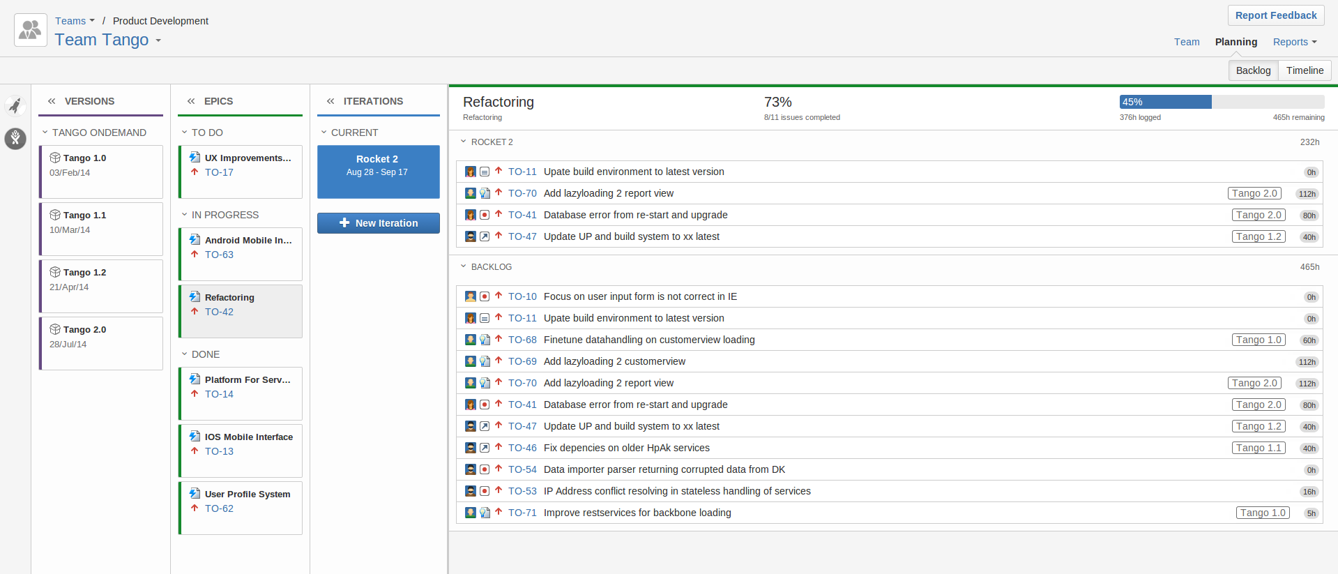 Tempo Planner project management solution for Atlassian's JIRA Agile Epic progress view