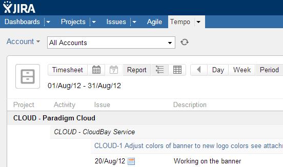 Tempo Report Pivot Account