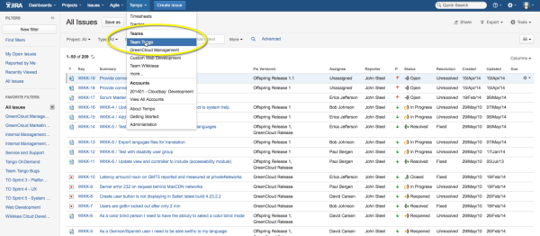Pick a team in JIRA to do your program planning.