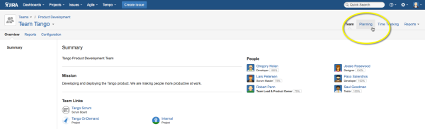 Click Planning in the upper right corner in the Tempo Planner team view  to start project planning for your team.