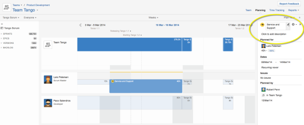 Click the pencil icon in the plan item sidebar of Tempo Planner