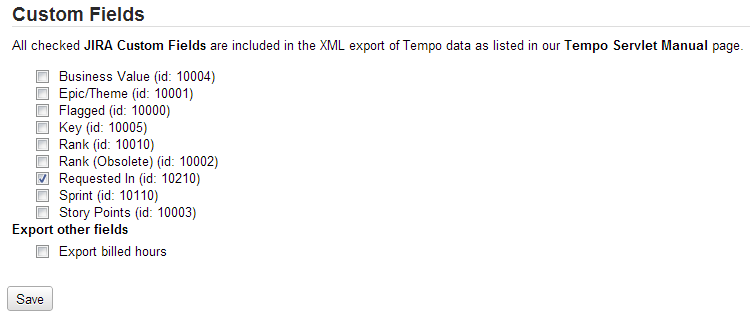 Tempo Custom Fields to XML