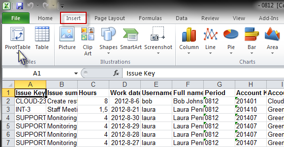 Tempo Report Pivot Insert Table