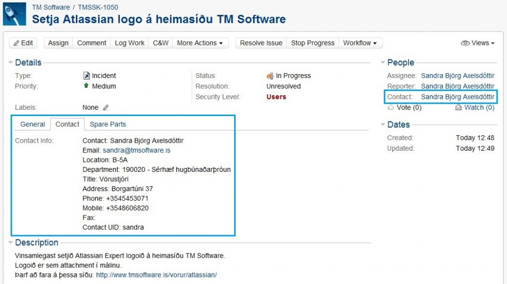 JIRA-Helpdesk-Contact-field