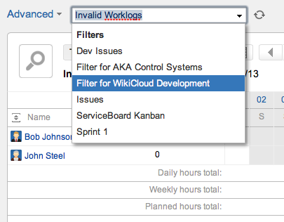 Advanced Timesheet Search Filter