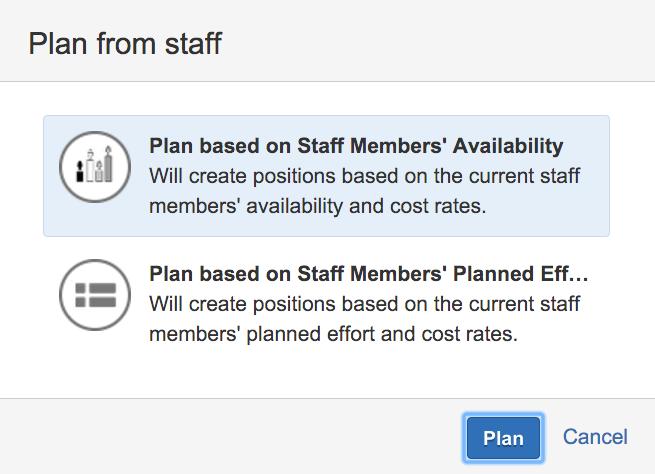 Tempo Folio | Plan from staff options