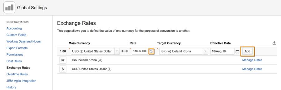 Tempo Folio | add exchange rates