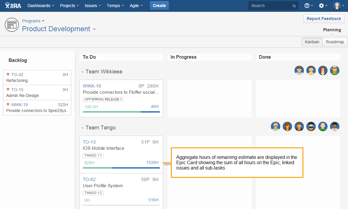 Total of remaining hours in Epic in Tempo Planner for JIRA