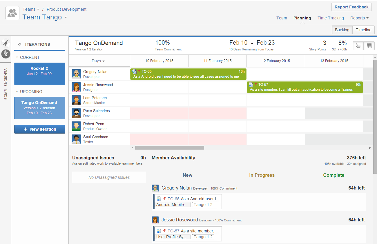 Issue Dependencies in Timeline of Tempo Planner for JIRA