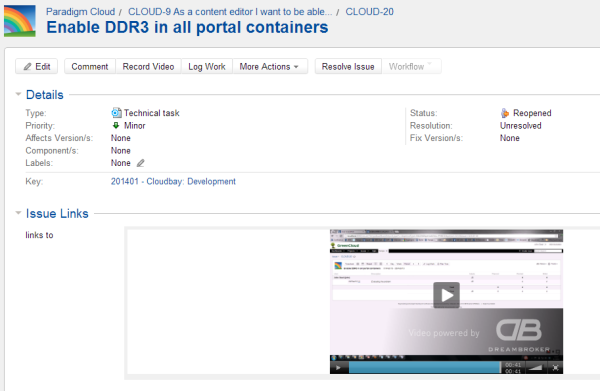 JIRA issue with ScreenMail video