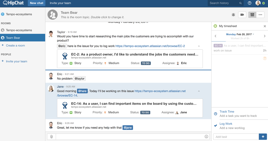 Tempo for HipChat | Log Work