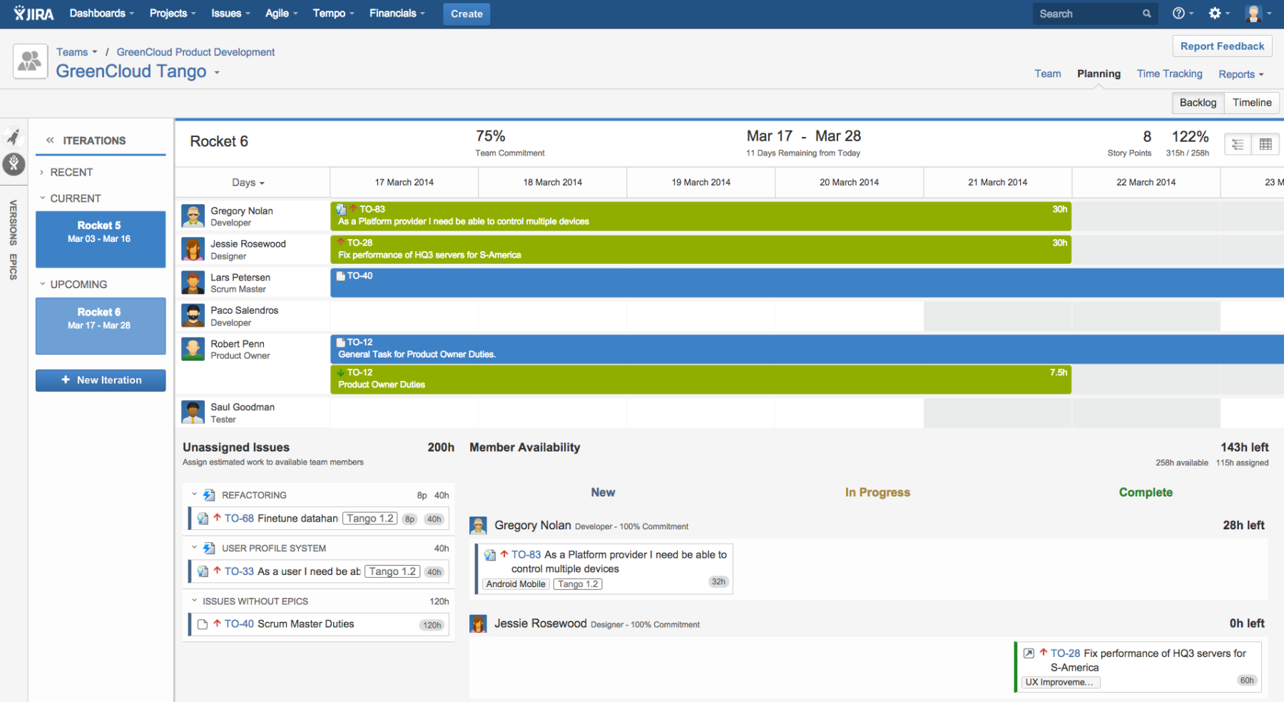 A view of the Iteration Timeline in the Team Backlog of Tempo Planner