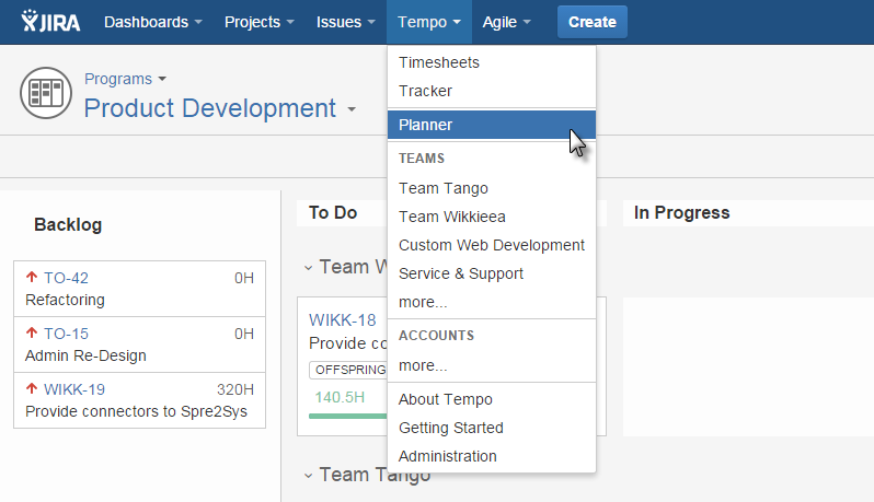 Tempo Planner in Top Navigation of Tempo Planner for JIRA
