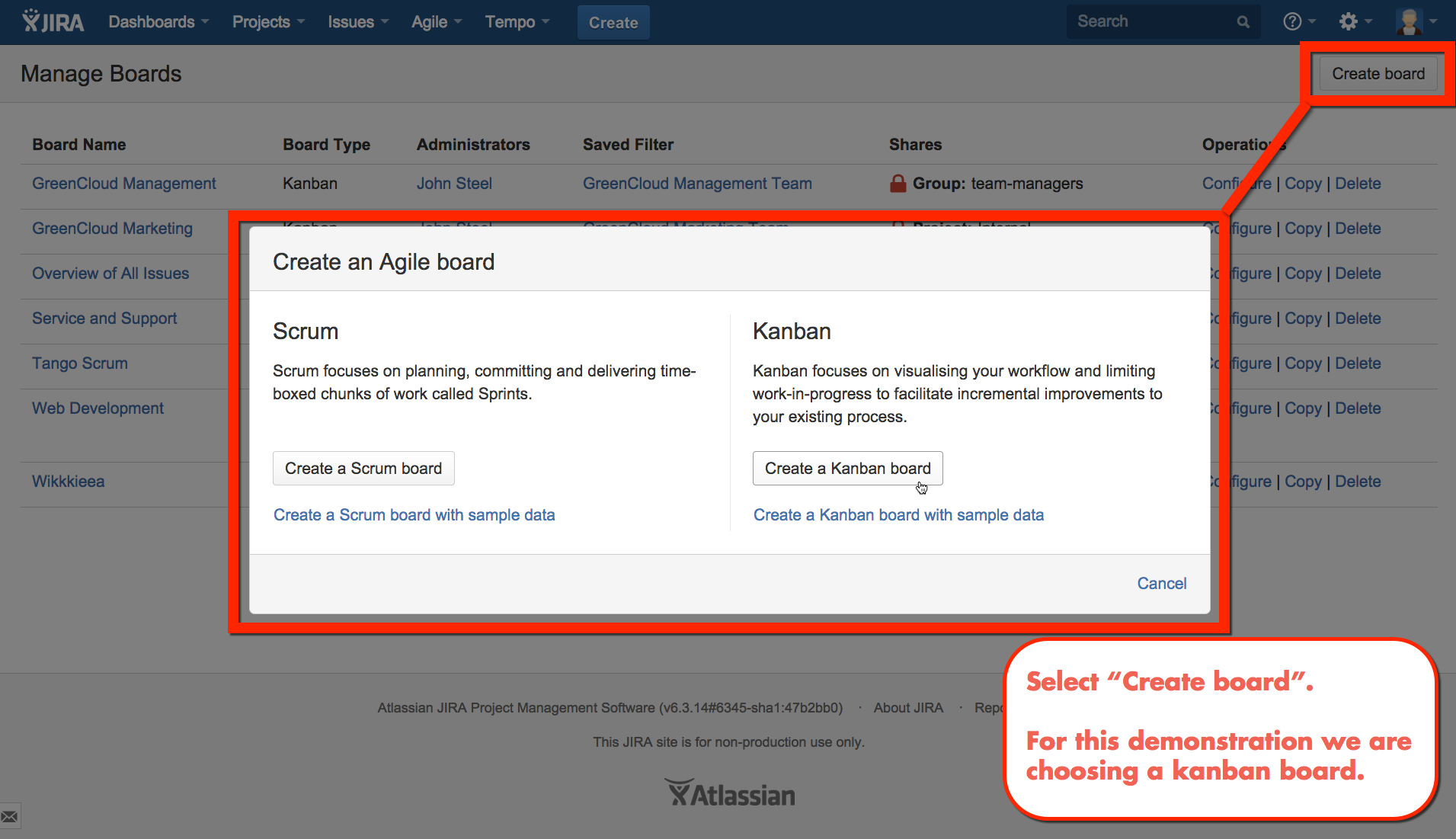 Select the type of agile board from create board