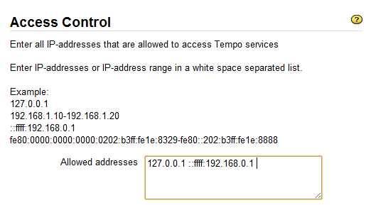 Tempo Admin Services Access IP