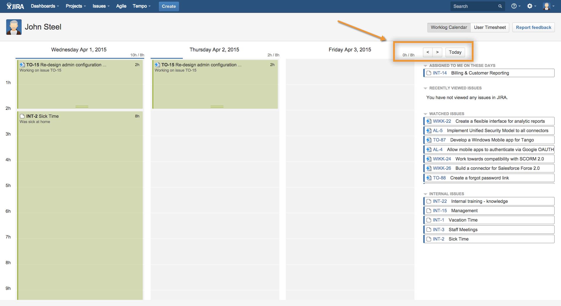 Navigating between days in the Worklog Calendar