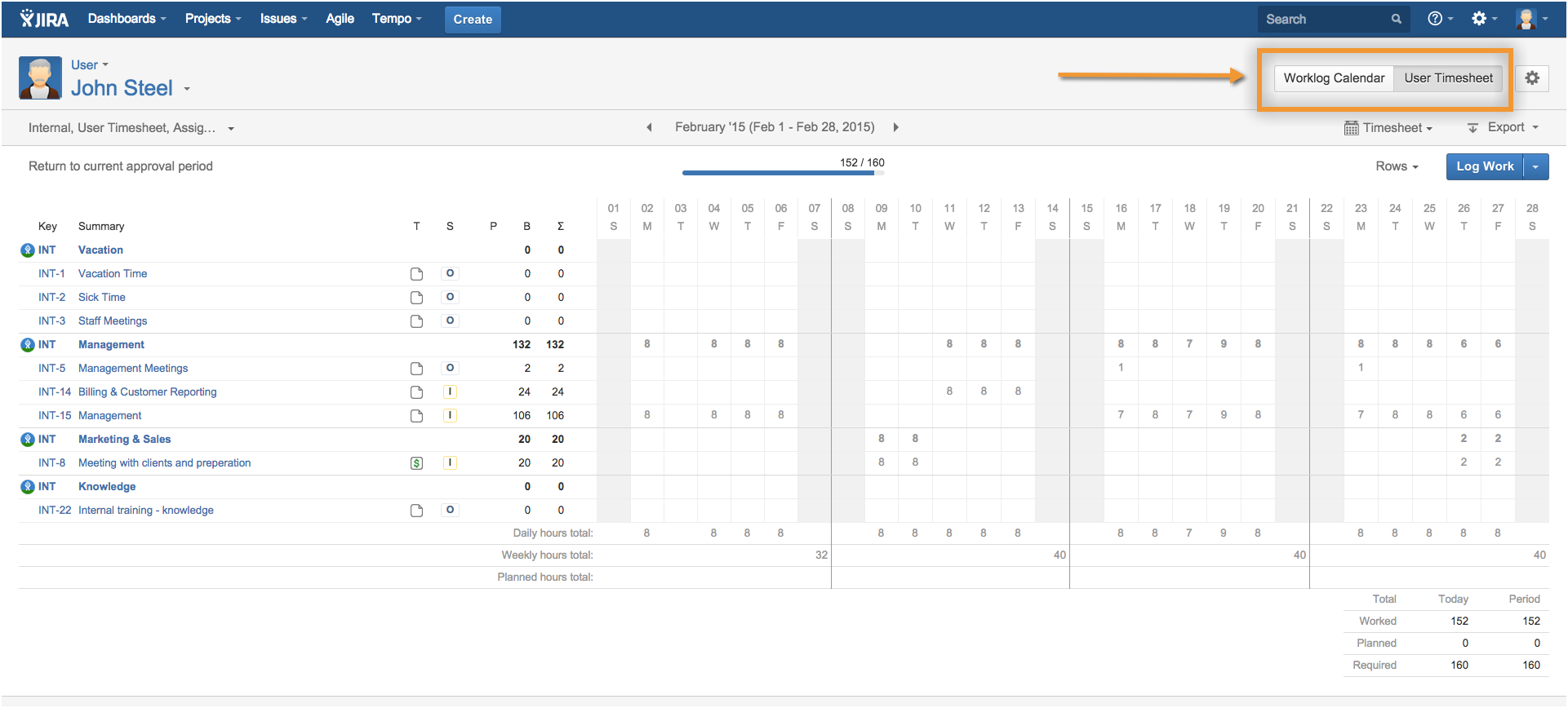accessing worklog calendar from top-right corner
