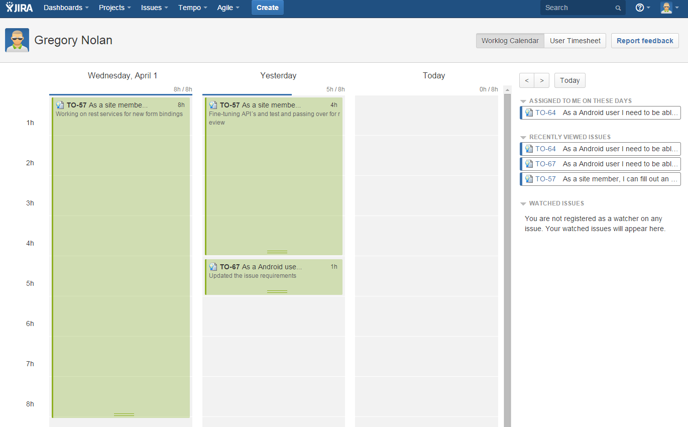 The worklog calendar in Tempo Timesheets