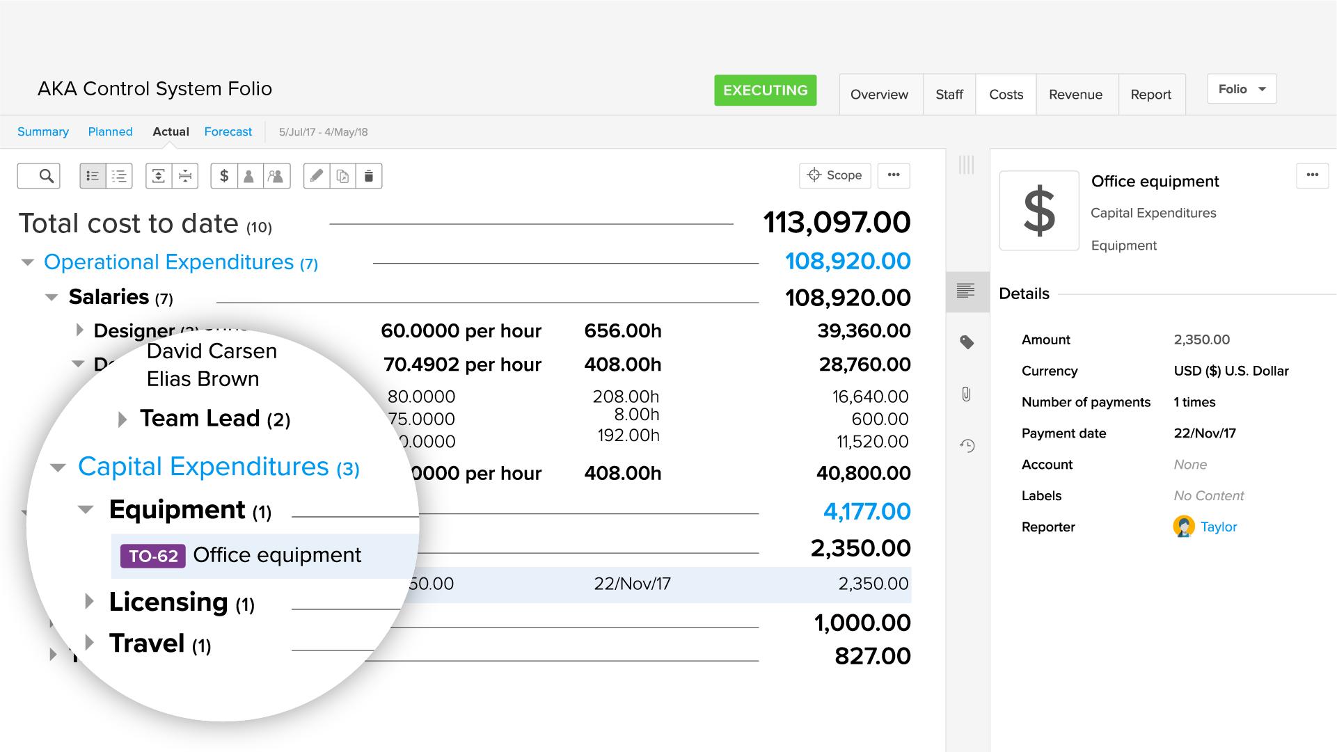 Agile EVM app: Operational expenditures