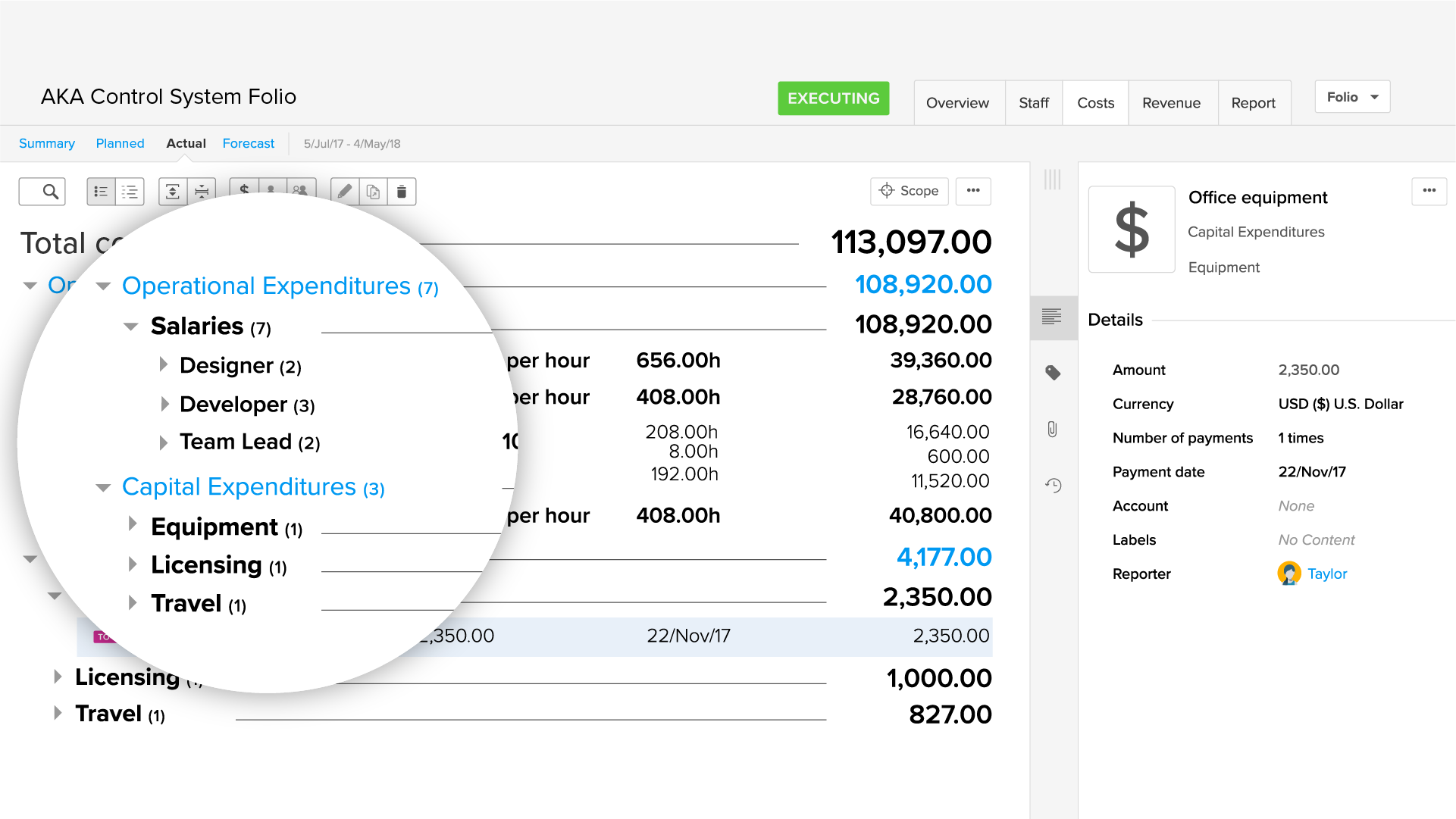 Projects with a linked Tempo Account can help categorize CAPEX and OPEX.