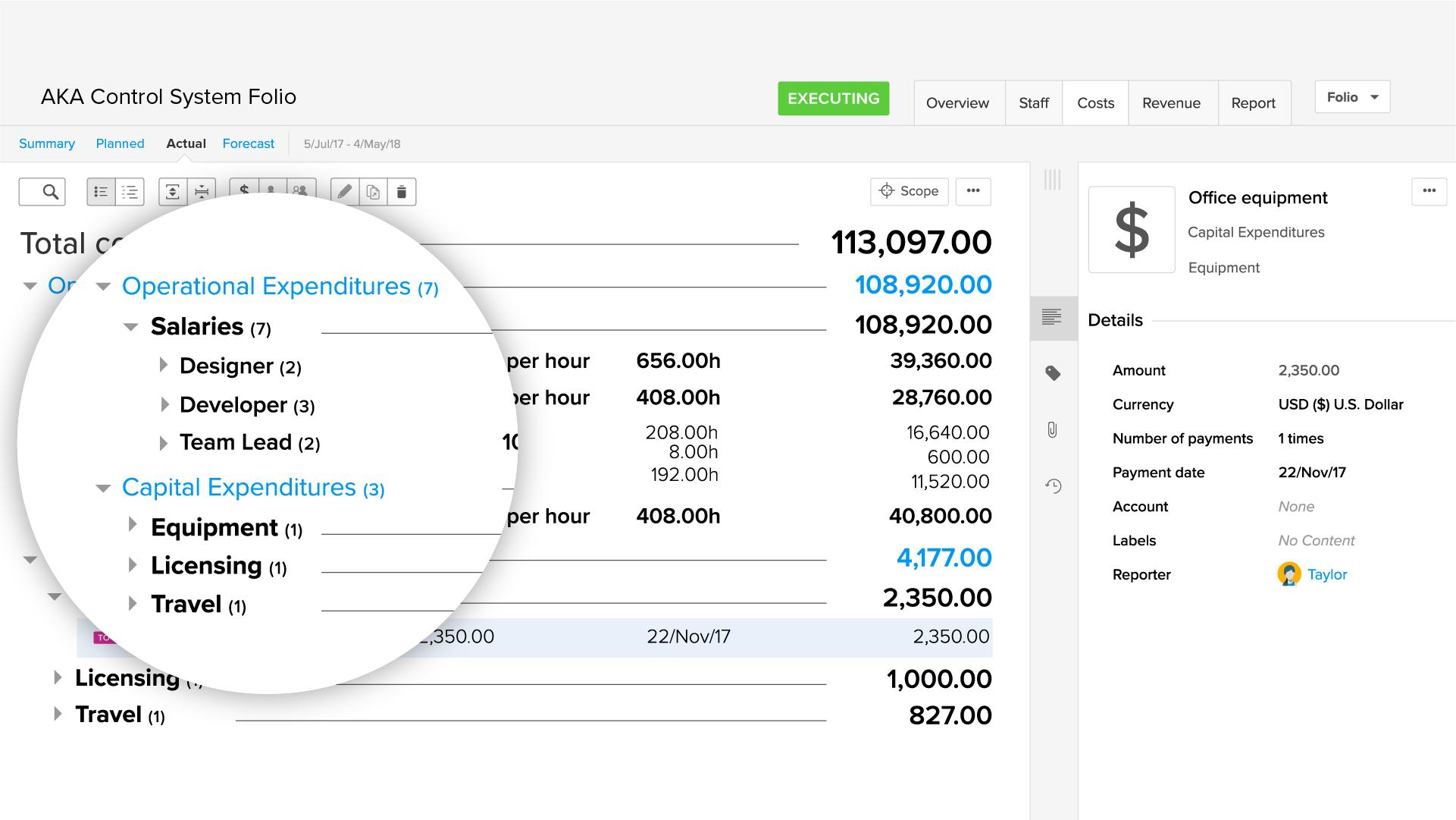 Agile EVM app: Record expenses