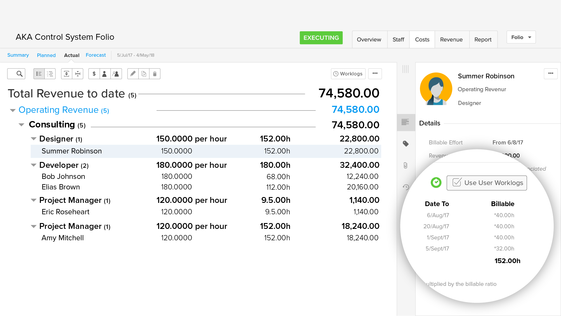 Overview of revenues that are derived from billable hours entered in Tempo Timesheets