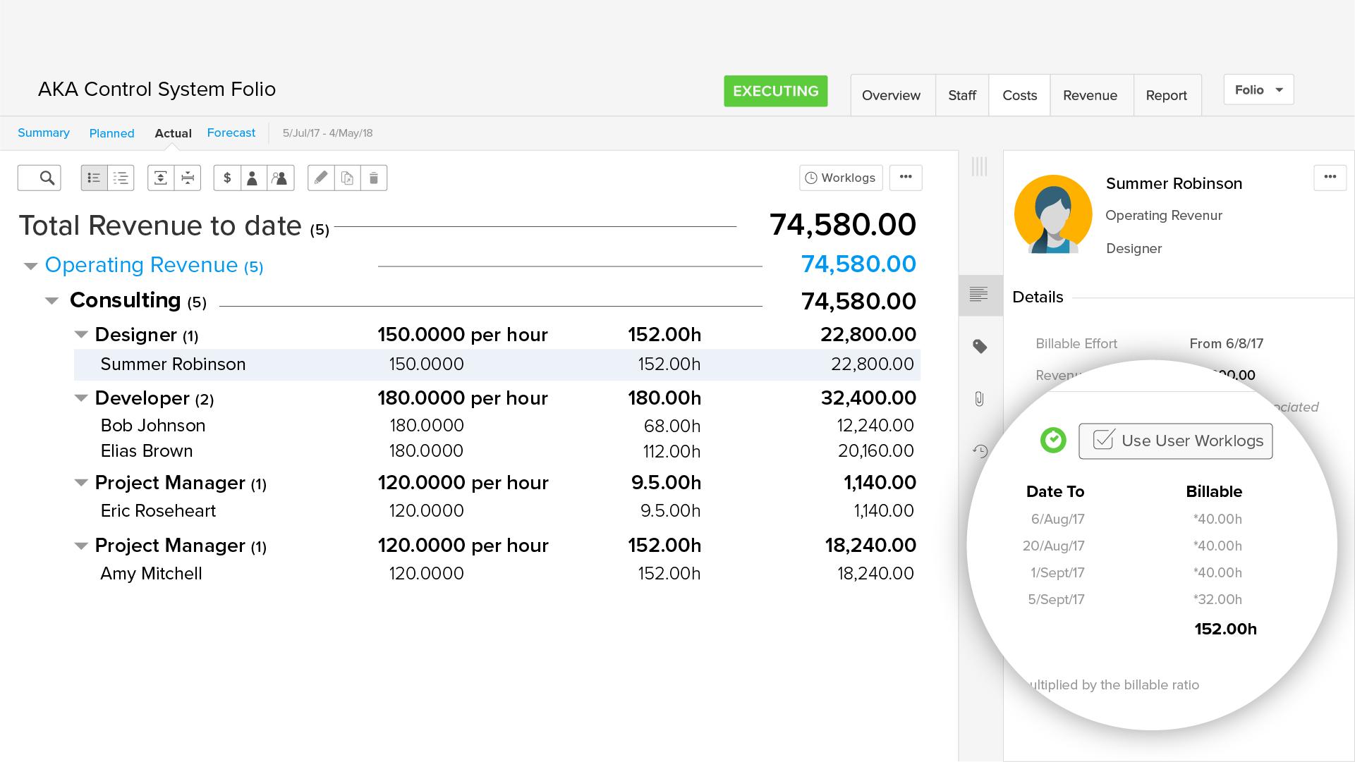 Agile earned value management software: Billable hours