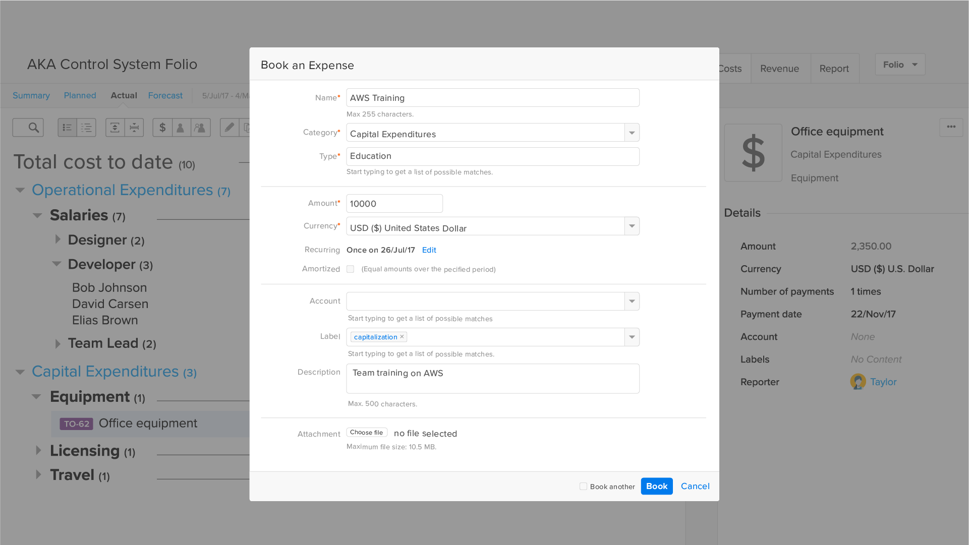 Option available to add or edit costs and revenues manually.