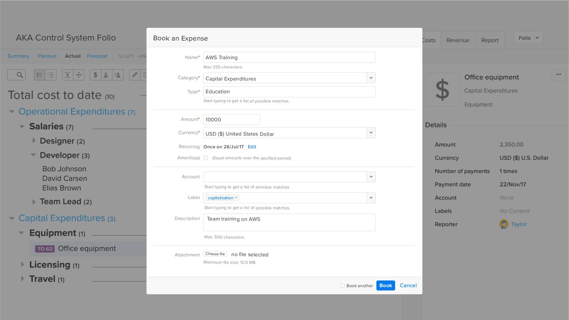 Agile EVM app: Add or edit costs