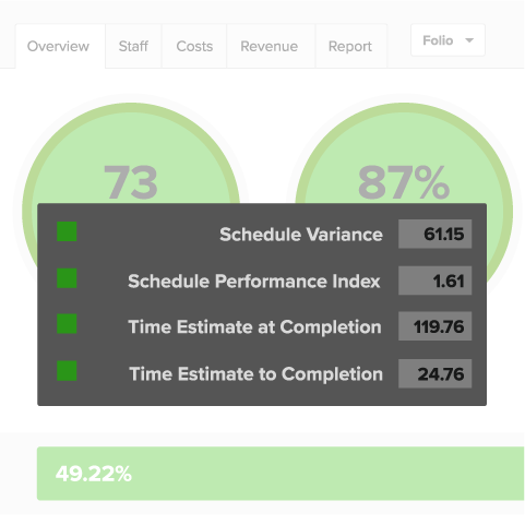 Agile earned value management software: Project dashboard