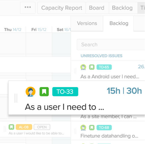 Team timeline where work can be planned with a drag and drop of issues on the calendar