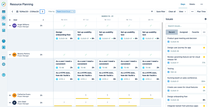 Resource planning view in Tempo