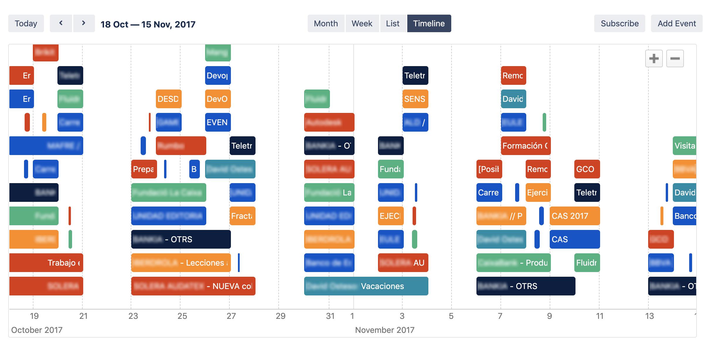 Full timeline calendar view