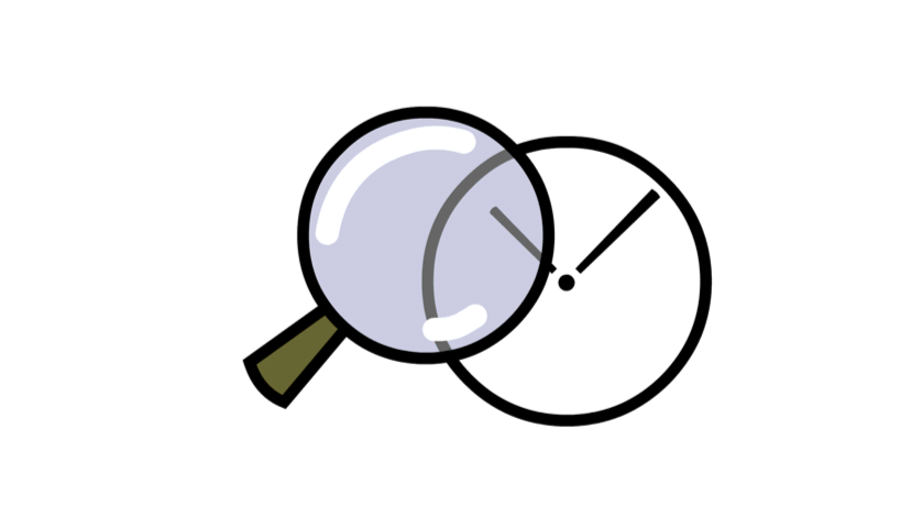 magnifying glass inspecting a clock