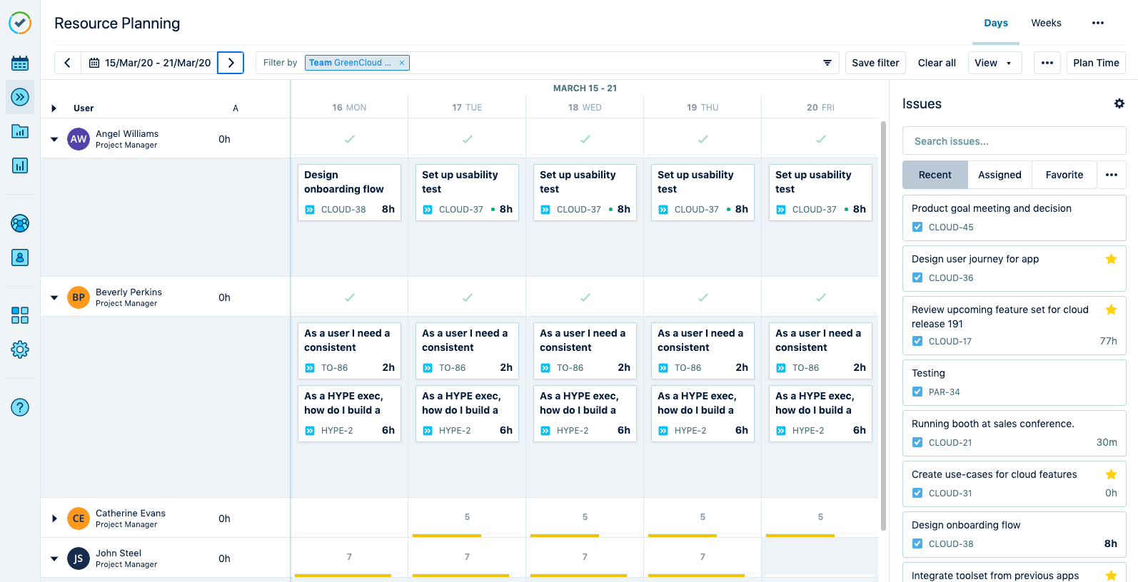 Resource planning - Tempo Planner view
